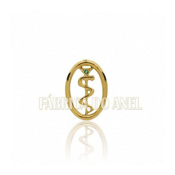 Boton de Formatura de Medicina em Ouro Amarelo 18k 0,750 B-226