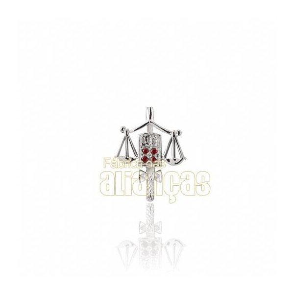Boton de Formatura de Direito em Ouro Branco 18k 0,750 B-207-B