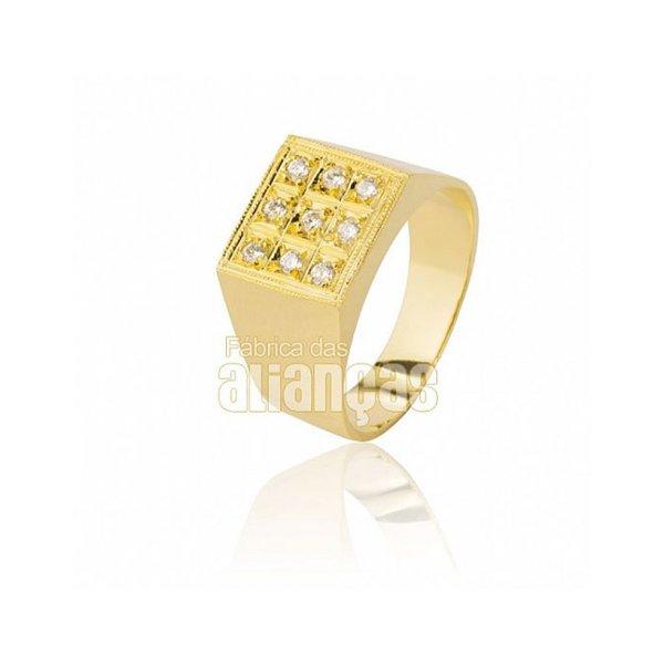 Anel Masculino em Ouro Amarelo 18k 0,750 A-02-Fechado