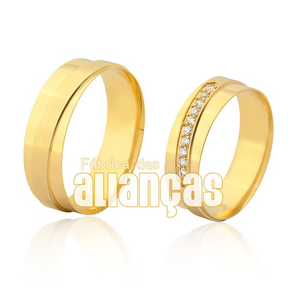 Alianças de Noivado e Casamento em Ouro Amarelo 18k 0,750 FA-953