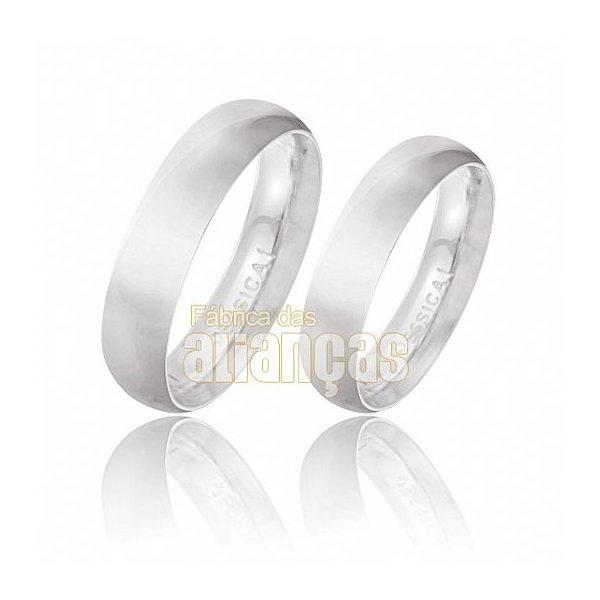 Alianças de Noivado e Casamento em Ouro Branco 18k 0,750 FA-132-B