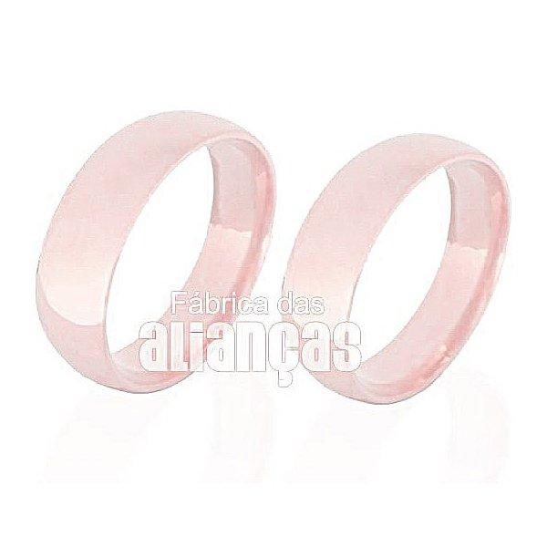 Alianças de Noivado e Casamento em Ouro Rose 18k 0,750 FA-139-R