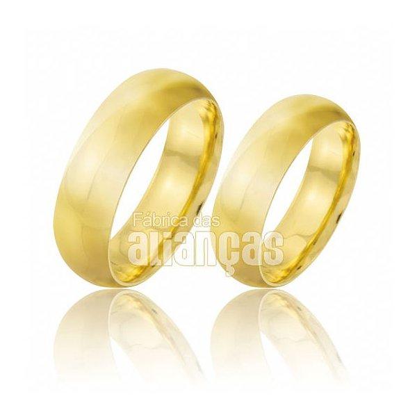Par de alianças de casamento anatomicas de ouro 18k