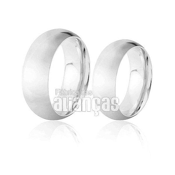 Alianças de Noivado e Casamento em Ouro Branco 18k 0,750 FA-150-B