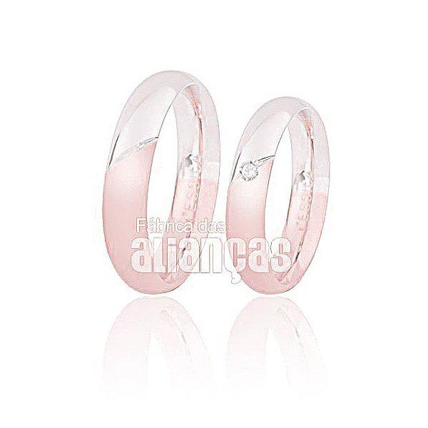 Alianças de Noivado e Casamento em Ouro Rose e Branco 18k 0,750 FA-157-R