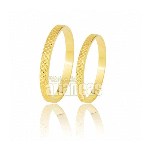 Alianças de Noivado e Casamento em Ouro Amarelo 18k 0,750 FA-173