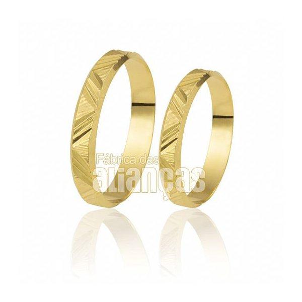 Alianças de Noivado e Casamento em Ouro Amarelo 18k 0,750 FA-181
