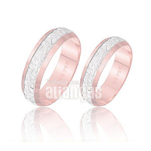 Alianças de Noivado e Casamento em Ouro Rose 18k 0,750 FA-219-R