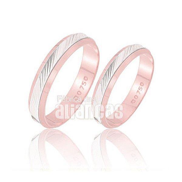 Alianças de Noivado e Casamento em Ouro Rose 18k 0,750 FA-223-R