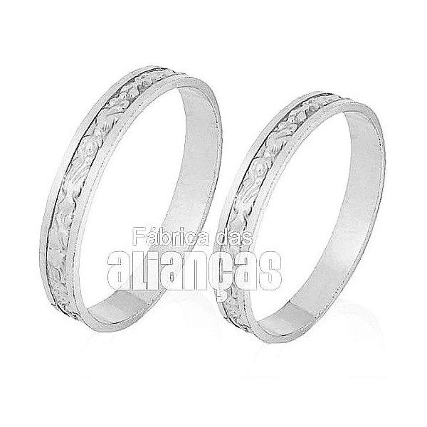 Alianças de Noivado e Casamento em Ouro Branco 18k 0,750 FA-225-B