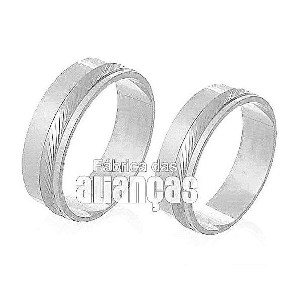 Alianças de Noivado e Casamento em Ouro Branco 18k 0,750 FA-226-B