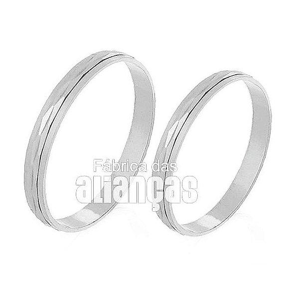 Alianças de Noivado e Casamento em Ouro Branco 18k 0,750 FA-231-B