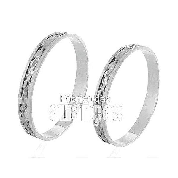 Alianças de Noivado e Casamento em Ouro Branco 18k 0,750 FA-236-B