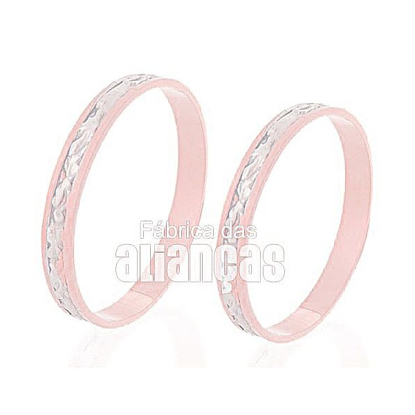 Alianças de Noivado e Casamento em Ouro Rose 18k 0,750 FA-236-R