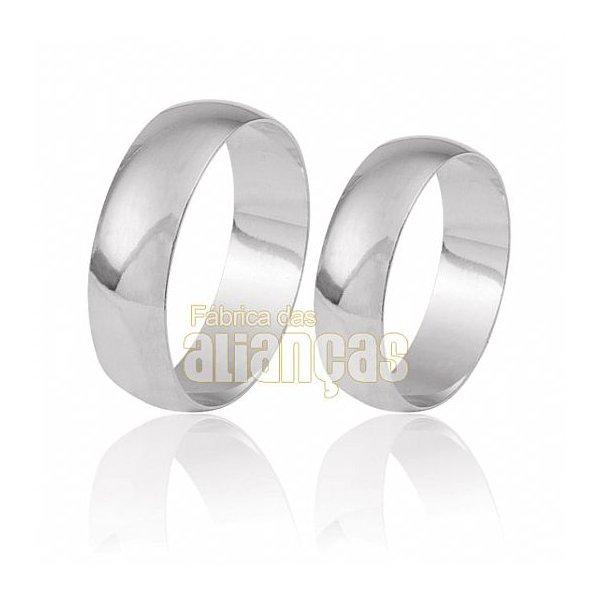 Alianças de Noivado e Casamento em Ouro Branco 18k 0,750 FA-25-B