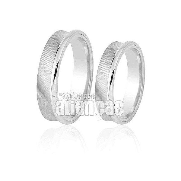 Alianças de Noivado e Casamento em Ouro Branco 18k 0,750 FA-257-B
