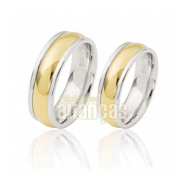 Alianças de Noivado e Casamento em Ouro Branco 18k 0,750 FA-260