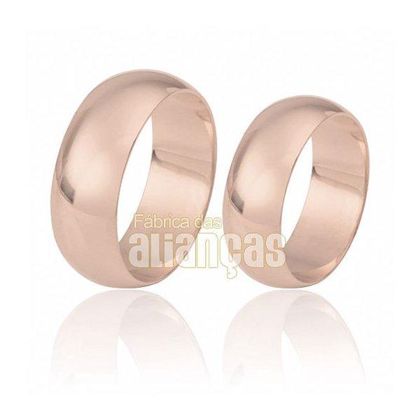Alianças de Noivado e Casamento em Ouro Rose 18k 0,750 FA-28-R