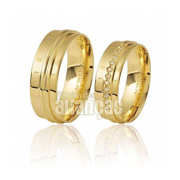 Alianças de Noivado e Casamento em Ouro Amarelo 18k 0,750 FA-284
