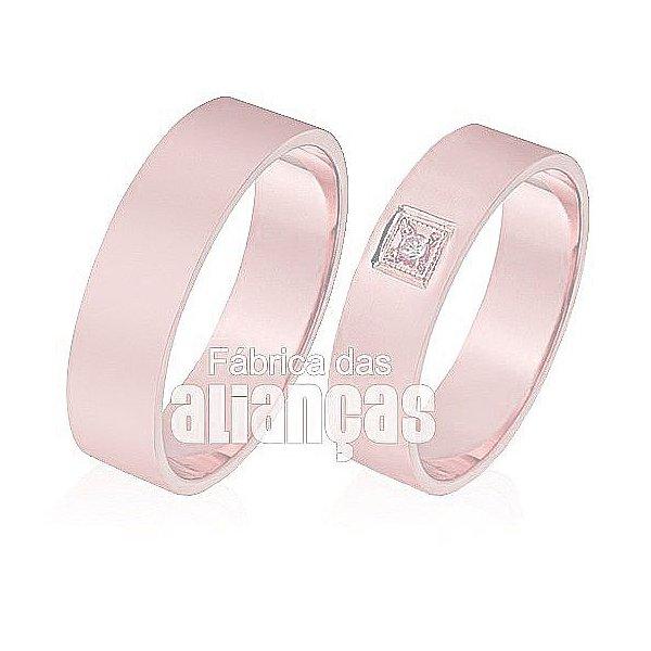 Alianças de Noivado e Casamento em Ouro Rose 18k 0,750 FA-304-R