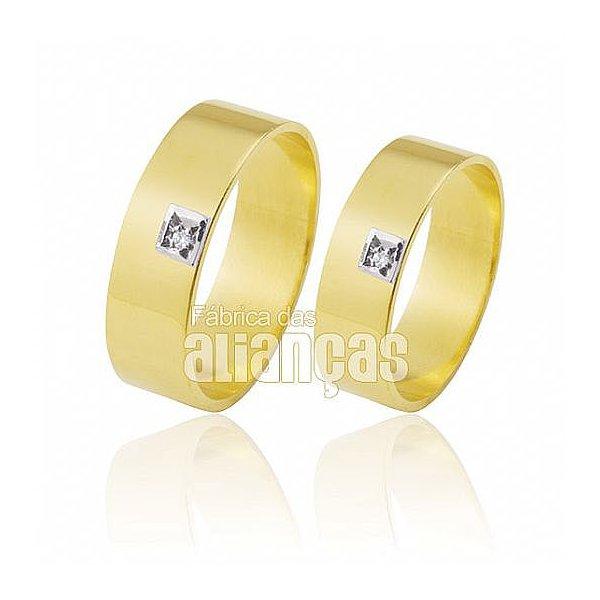 Alianças de Noivado e Casamento em Ouro Amarelo 18k 0,750 FA-306