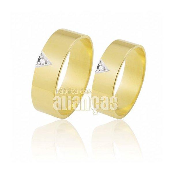 Alianças de Noivado e Casamento em Ouro Amarelo 18k 0,750 FA-307