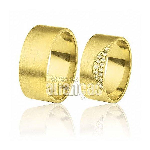 Alianças de Noivado e Casamento em Ouro Amarelo 18k 0,750 FA-311