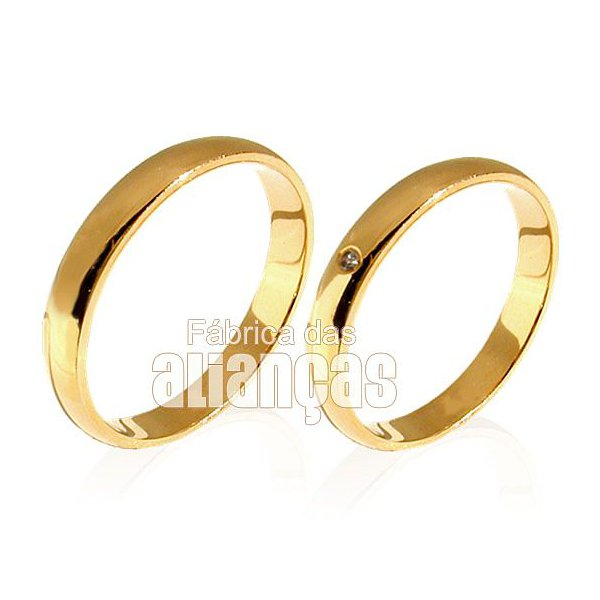 Alianças de Casamento em Ouro 18k com Diamantes