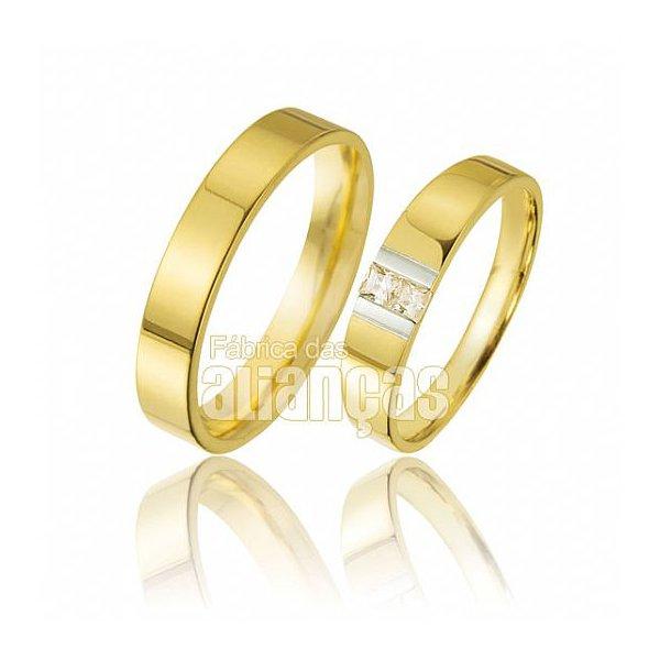 Alianças de Noivado e Casamento em Ouro Amarelo 18k 0,750 FA-344