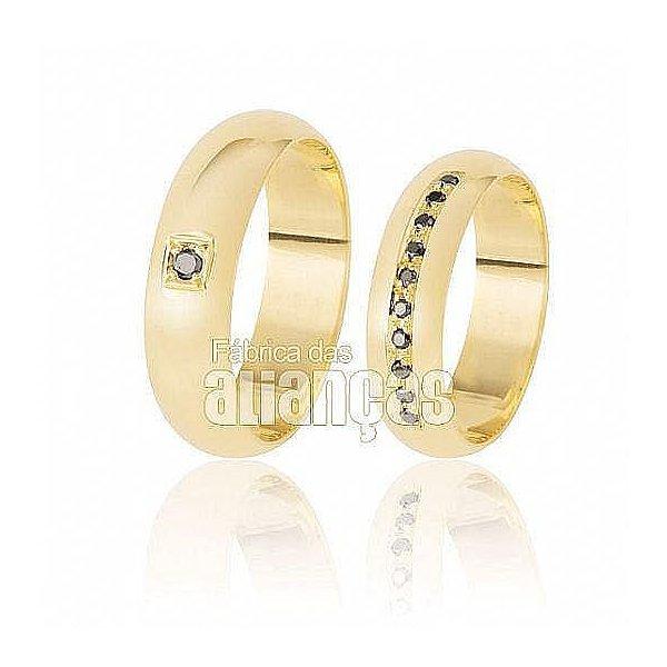 Alianças de Noivado Ouro com Diamantes Black