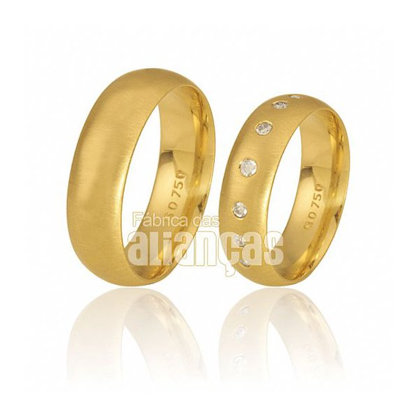 Alianças com Diamantes de Ouro 18k