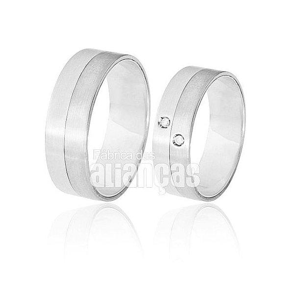 Aliança de Noivado e Casamento em Ouro Branco 18k 0,750 FA-369-B