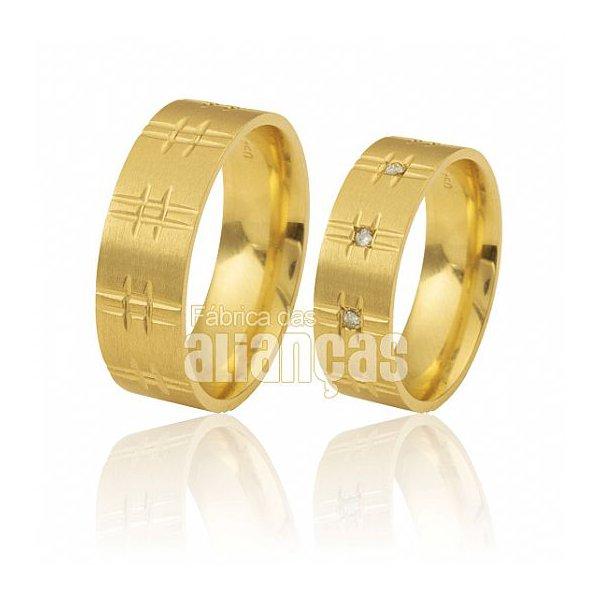 Alianças de Noivado e Casamento em Ouro Amarelo 18k 0,750 FA-374