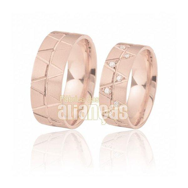 Aliança de Noivado e Casamento em Ouro Rose 18k 0,750 FA-375-R