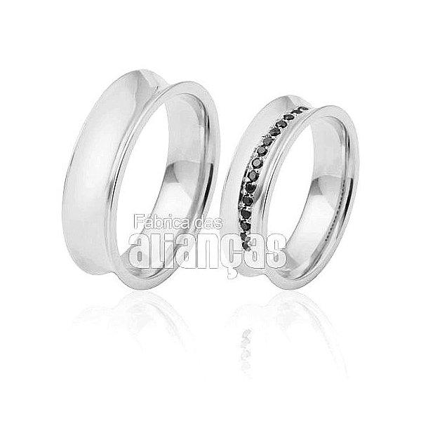 Alianças de Noivado e Casamento em Ouro Branco 18k 0,750 FA-417-B