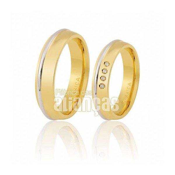 Alianças de Noivado e Casamento em Ouro Amarelo 18k 0,750 FA-434