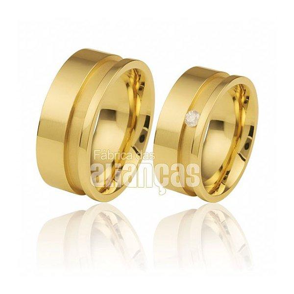 Alianças de Noivado e Casamento em Ouro Amarelo 18k 0,750 FA-437