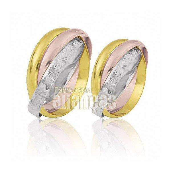 Alianças de Noivado e Casamento em Ouro Amarelo 18k 0,750 FA-455