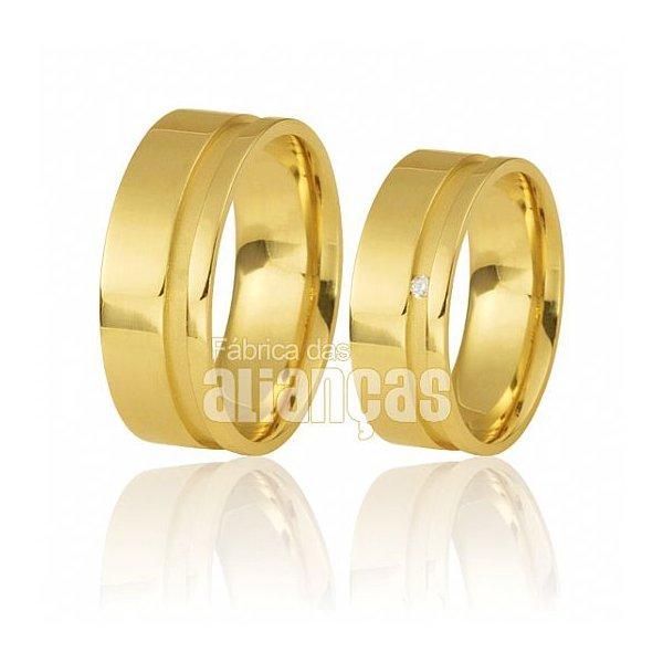 Alianças de Noivado e Casamento em Ouro Amarelo 18k 0,750 FA-490