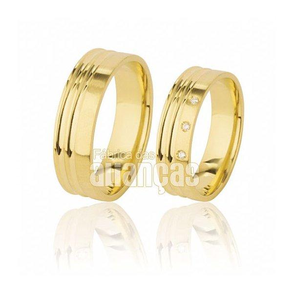 Alianças de Noivado e Casamento em Ouro Amarelo 18k 0,750 FA-495