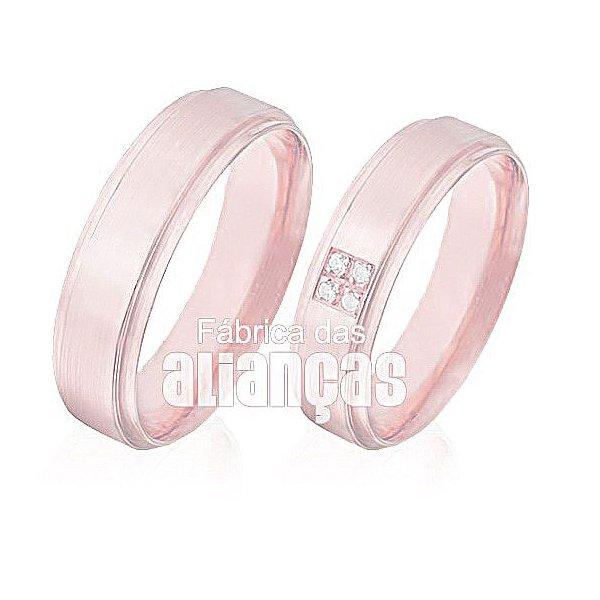 Aliança de Noivado e Casamento em Ouro Rose 18k 0,750 FA-496-R
