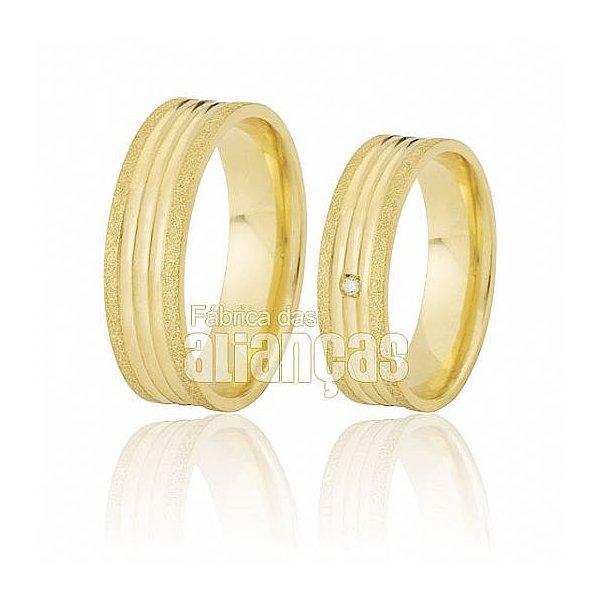 Alianças de Noivado e Casamento em Ouro Amarelo 18k 0,750 FA-499