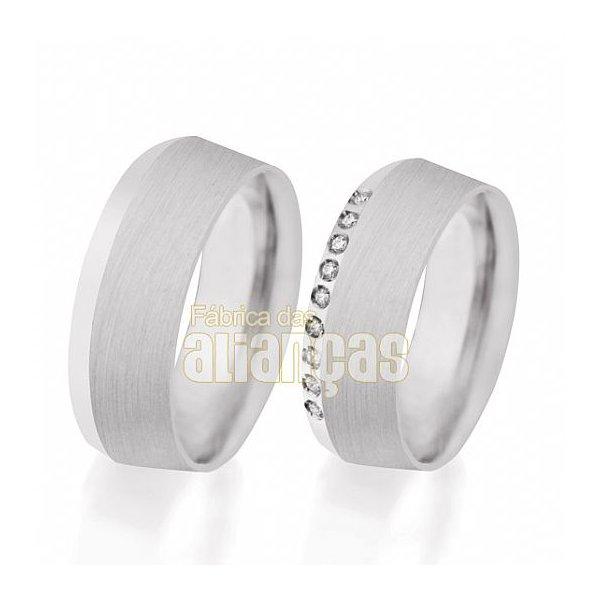 Aliança de Noivado e Casamento em Ouro Branco 18k 0,750 FA-501-B