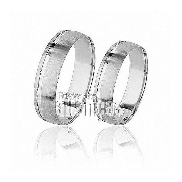 Aliança de Noivado e Casamento em Ouro Branco 18k 0,750 FA-504-B