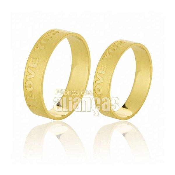 Alianças de Noivado e Casamento em Ouro Amarelo 18k 0,750 FA-529