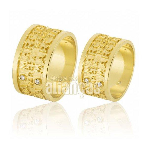 Alianças de Noivado e Casamento em Ouro Amarelo 18k 0,750 FA-586