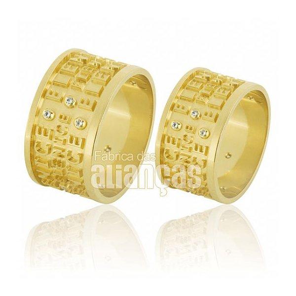 Alianças de Noivado e Casamento em Ouro Amarelo 18k 0,750 FA-594