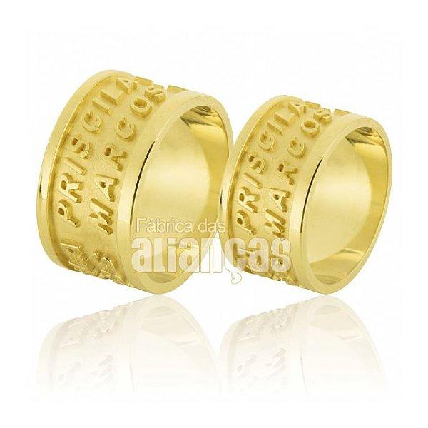 Alianças de Noivado e Casamento em Ouro Amarelo 18k 0,750 FA-596