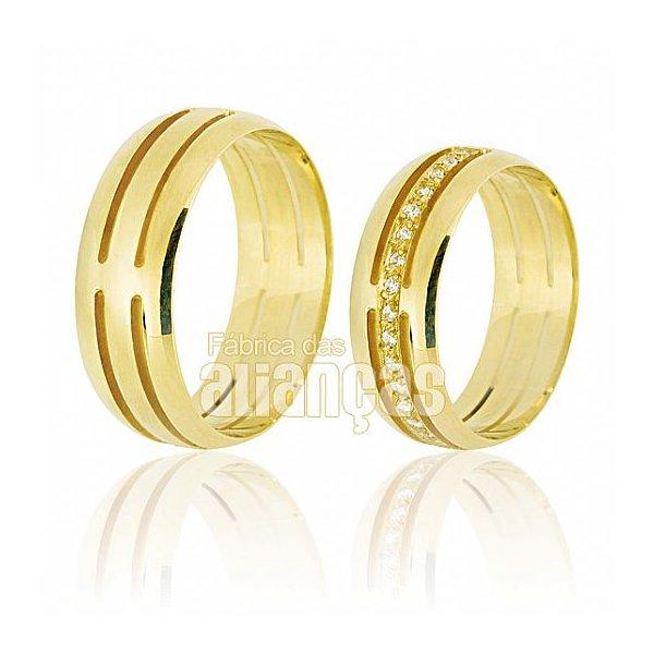 Alianças de Noivado e Casamento em Ouro Amarelo 18k 0,750 FA-608