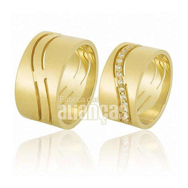 Alianças de Noivado e Casamento em Ouro Amarelo 18k 0,750 FA-609